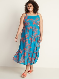 58c5c5cd77 Fit   Flare Plus-Size Tiered Maxi Dress
