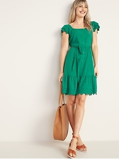 e2c2b5f55c5ad Embroidered Eyelet Waist-Defined Tie-Belt Dress for Women