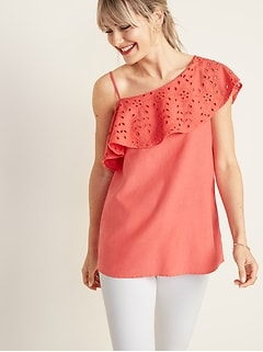 8b63d5202ccebf One-Shoulder Ruffle-Trim Top for Women