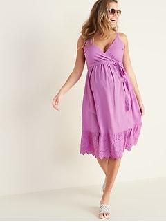 28cfa6a916362 Maternity Wrap-Front Cutwork Midi Dress