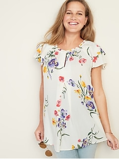 de1dbb0a043 Maternity Floral-Print Tiered-Ruffle Sleeve Blouse