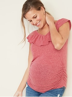 7f7c31bcf4451 Maternity Fitted Ruffled V-Neck Linen-Blend Top