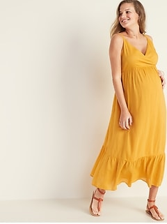 03598967ce4 Maternity Sleeveless Wrap-Front Maxi Dress