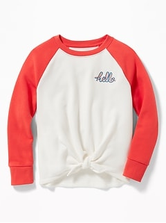 9c6e8d4d3 Tie-Front Embroidered-Graphic Raglan Sweatshirt for Girls
