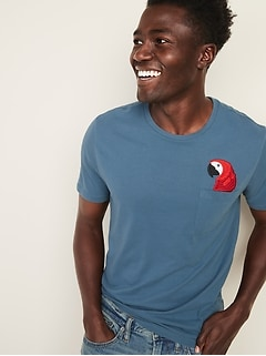 77fb789c2 Soft-Washed Embroidered-Graphic Pocket Tee for Men