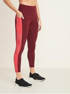86331208f1906 High-Rise Side-Stripe Pocket Elevate 7/8-Length Leggings for Women