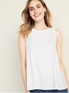 29bc6a2ab586 Sleeveless Shirred-Back Swing Top for Women