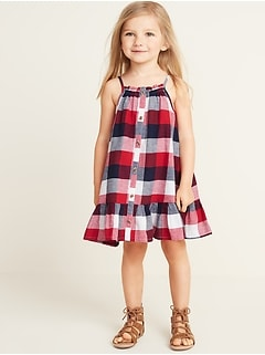 9067e58e68cf Patterned Button-Front Tiered-Hem Sundress for Toddler Girls
