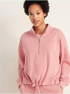 c26042d6 French Terry 1/4-Zip Drawstring-Hem Pullover for Women