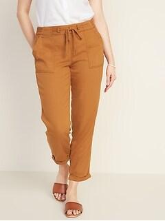 fe7ba1dfea3da Mid-Rise Soft Twill Pull-On Utility Pants for Women