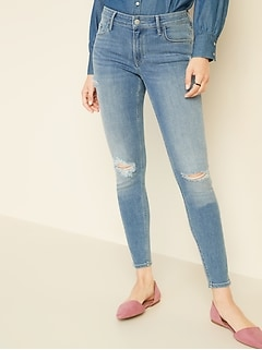 241e7738 Mid-Rise Distressed Rockstar Super Skinny Jeans for Women