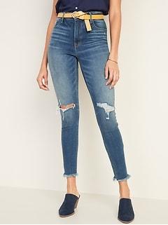 5a59f7f84d47ff High-Rise Secret-Slim Pockets Raw-Edge Rockstar Ankle Jeans for Women