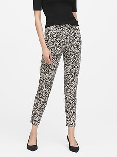 Modern Sloan Skinny-Fit Metallic Leopard Pant