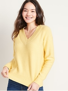 Charcoal Grey Mustard Yellow Womens Oversized Soft V neck Button Knit Jumper