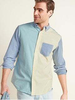 Oldnavy Regular-Fit Built-In Flex Color-Blocked Everyday Oxford Shirt for Men