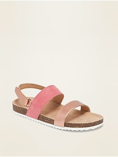 Oldnavy Faux-Suede/Faux-Leather Color-Block Sandals for Girls