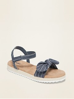 Oldnavy Striped-Chambray Bow-Tie Sandals for Girls