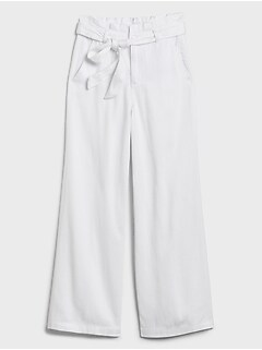 bananarepublic High-Rise Wide-Leg Tie-Waist White Jean