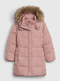 갭 GAP Kids ColdControl Ultra Max Long Puffer Jacket,antique pink
