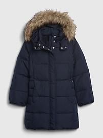 갭 GAP Kids ColdControl Ultra Max Long Puffer Jacket,dark night