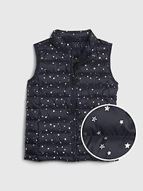 갭 GAP Kids Upcycled Lightweight Puffer Vest,blue star