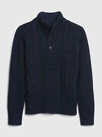 갭 키즈 남아용 꽈베기 니트 버튼업 스웨터 GAP Kids Cable-Knit Mockneck Sweater,chino