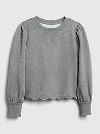 갭 GAP Kids Puff Sleeve Crewneck Sweatshirt,heather gray