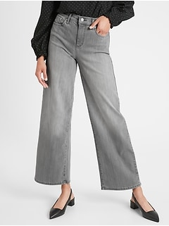 bananarepublic High-Rise Wide Leg Grey Jean