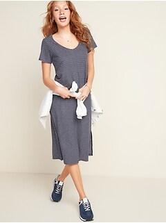 Oldnavy Striped Linen-Blend Jersey Midi T-Shirt Shift Dress for Women
