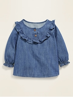 Oldnavy Ruffle-Trim Chambray Top for Baby
