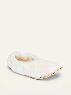 Oldnavy Sherpa-Lined Sequin Slippers for Girls Hot Deal