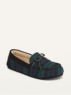 Oldnavy Cozy Plaid Flannel Sherpa-Lined Moccasin Slippers for Men