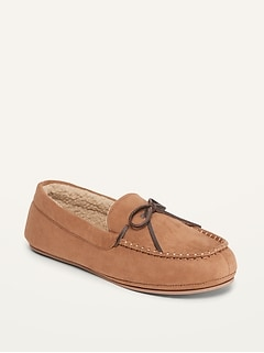 Oldnavy Faux-Suede Sherpa-Lined Moccasin Slippers for Men