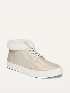 Oldnavy Faux-Fur-Lined Iridescent Mid-Top Sneakers for Girls