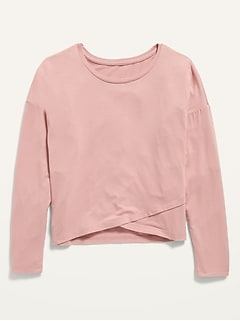 Oldnavy Luxe Cross-Front Long-Sleeve Tee for Girls