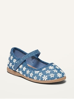 Oldnavy Floral-Embroidered Chambray Mary-Jane Flats for Toddler Girls