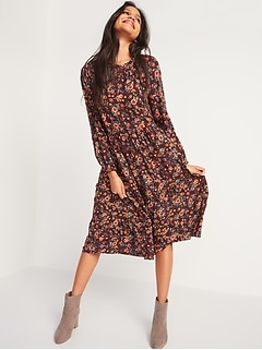 Printed Tiered Midi Swing Dress for Women