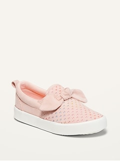 Oldnavy Faux-Suede Perforated Bow-Tie Slip-Ons for Toddler Girls