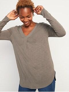 Oldnavy Luxe Slub-Knit Long-Sleeve Tunic Tee for Women