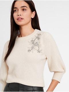 Bananarepublic Embellished Puff-Sleeve Sweater