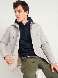 Oldnavy Water-Resistant Sherpa-Lined Quilted Shirt Jacket for Men