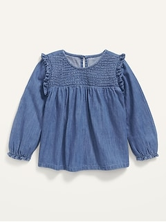 Oldnavy Long-Sleeve Smocked Ruffle-Trim Chambray Top for Toddler Girls