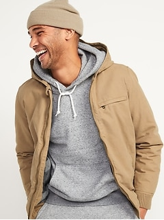 Oldnavy Hooded Canvas Flannel-Lined Utility Jacket for Men
