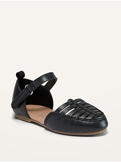 Oldnavy Faux-Leather Ankle-Strap Huarache Flats for Toddler Girls