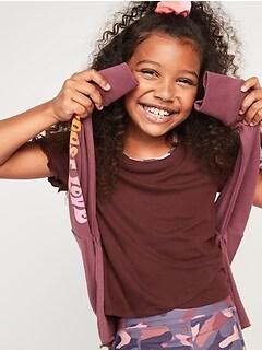 Oldnavy UltraLite Go-Dry Rib-Knit Short-Sleeve Lettuce-Edged T-Shirt for Girls