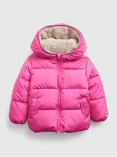 갭 여아용 푸퍼 자켓 GAP Toddler Reversible ColdControl Max Sherpa Puffer Jacket,happy pink