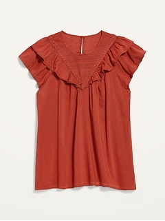 Oldnavy Ruffled Lace-Trim Short-Sleeve Blouse for Women