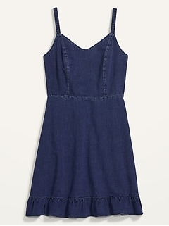 Fit & Flare Cami Ruffle-Hem Jean Dress for Women