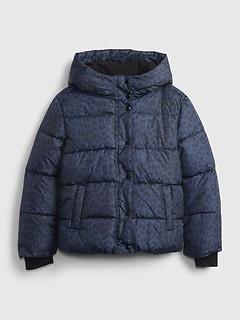 갭 걸즈 푸퍼 자켓 GAP Kids ColdControl Ultra Max Puffer Jacket,navy leopard