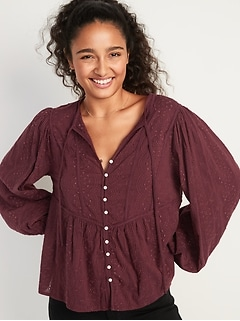 Oldnavy Oversized Embroidered Cutwork Tie-Neck Blouse for Women